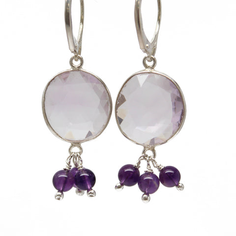 Faceted Amethyst Earrings with Sterling Silver Lever Backs