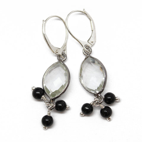 Faceted Crystal Quartz Earrings with Sterling Silver Lever Backs