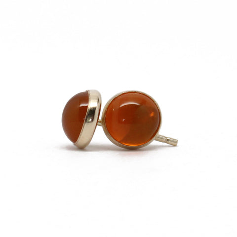 6mm Fire Opal Stud Earrings in 14k Gold Filled Bezel Setting