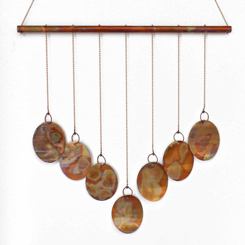 Copper Wind Chime, Large Flame Painted Copper Mobile