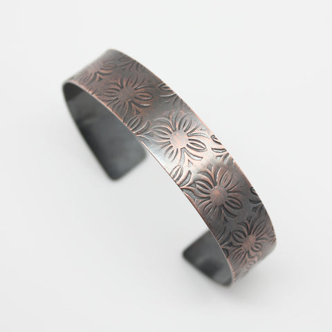 Copper Cuff with Flowers~Handmade