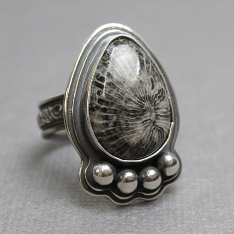 Coral Fossil Cocktail Ring Ball Border Ring Bohemian Ring Gift Ring Coral Fossil Gigantic Ring 925 Sterling Silver Ring Statement Ring