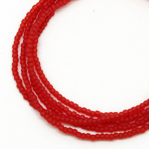 Red Seed Bead Necklace-Frosted-Single Strand