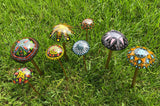 Glass Mushrooms for the Garden