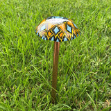 "Fused Glass Mushroom Garden Stake~Orange and Blue 12.25"" Tall"
