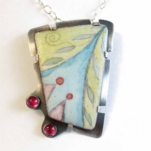 Handcrafted Enamel Pendant Necklace with Pink Rubies