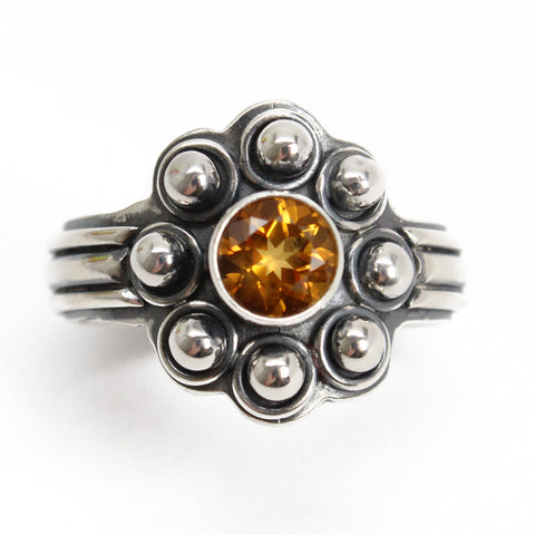 Golden Citrine Ring in Sterling Silver 8.5 US
