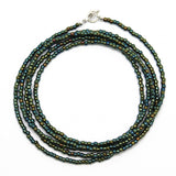 Green Brown Seed Bead Necklace, Shiny Metallic, Single Strand