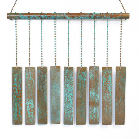 Green Patina Copper Wind Chime with Rectangles, Aged Copper Mobile