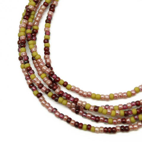 Green Plum Pink Seed Bead Necklace-Single Strand