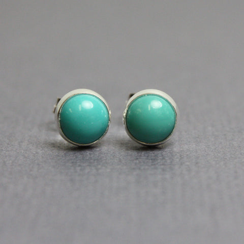 Green Turquoise Studs in Sterling Silver