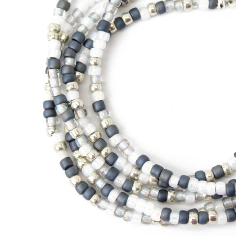 Grey and Silver Seed Bead Necklace-Multi Color-Single Strand