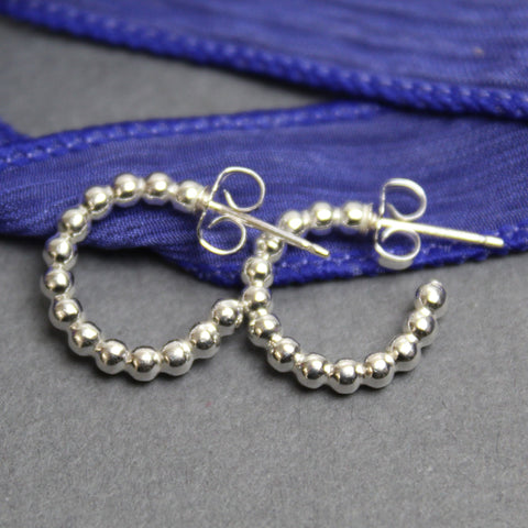 Sterling Silver Ball Wire Hoop Earrings, Small 1/2 Inch