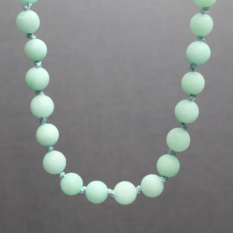 Hand Knotted Mint Green Jade Bead Necklace, 18 Inches