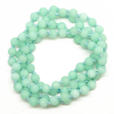 Hand Knotted Mint Green Jade Necklace, 28 Inches