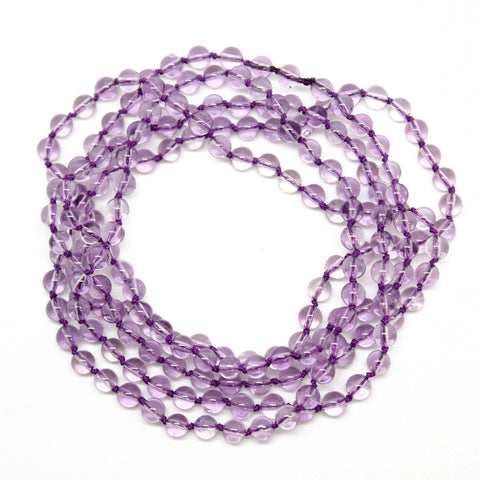 Hand Knotted Pale Purple Amethyst Bead Necklace, 40 Inches Long