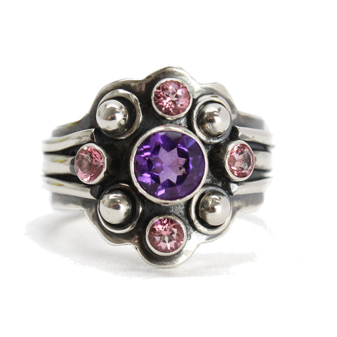 Amethyst and Topaz Ring in Sterling Silver 7.25 US