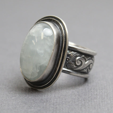 Aquamarine Ring in 925 Sterling Silver, Size 8 US