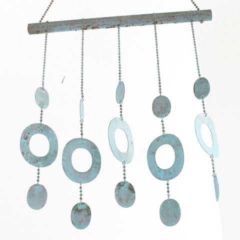 Copper Wind Chime with Circles-Copper Mobile Patio Decor