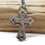 Sterling Silver Cross with Vines Pendant Necklace