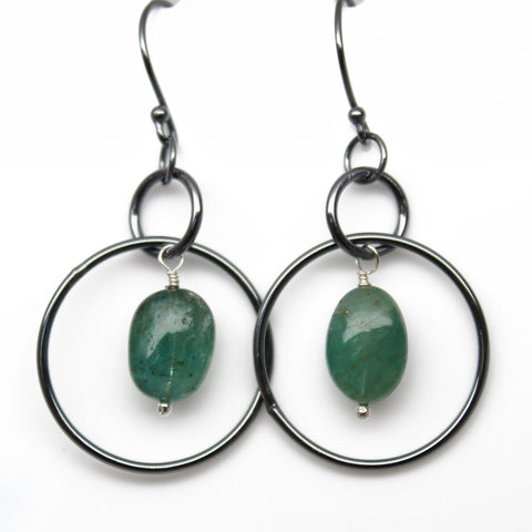 Emerald Dangle Earrings in Oxidized Sterling Silver
