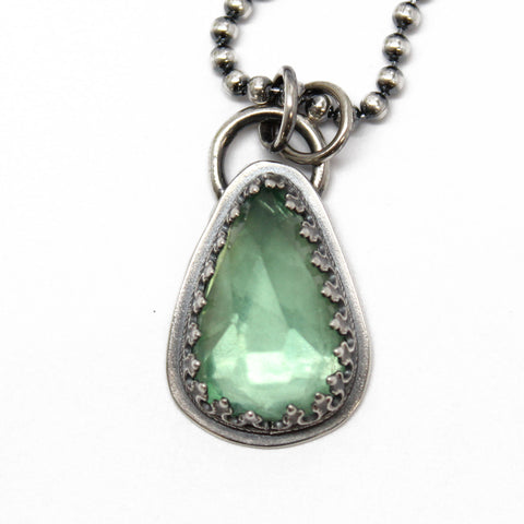 Green Fluorite Pendant in Sterling Silver