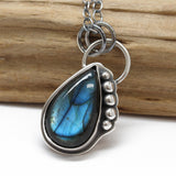 Labradorite Teardrop Pendant Necklace in Sterling Silver