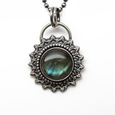 Labradorite Necklace in Sterling Silver 20 Inches Long