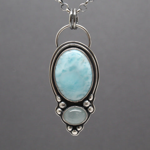 Larimar and Aquamarine Necklace Handmade in Silver