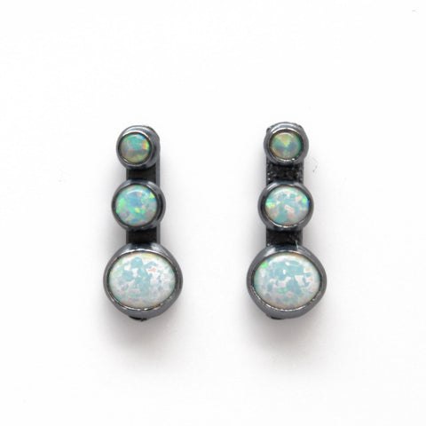 Opal Stud Drop Earrings, Lab Opals in all Sterling Silver