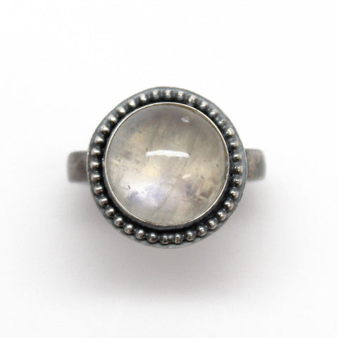 Handmade Round Moonstone Ring in Sterling Silver Size 6.5 US