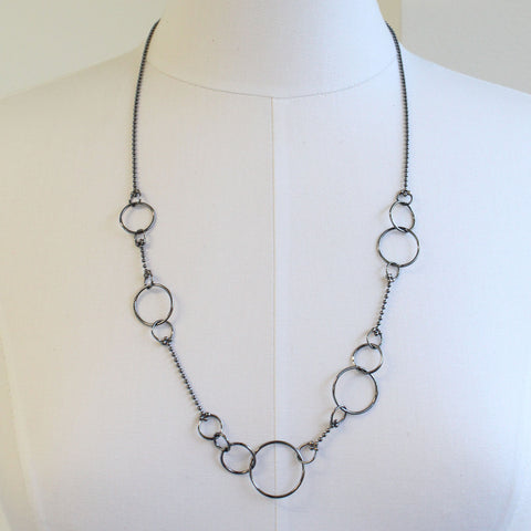 Handmade Sterling Silver Chain Necklace With Hoops, 31 Inches Long