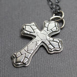 Large Sterling Silver Cross Pendant Necklace, Handmade
