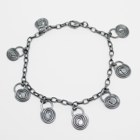 Sterling Silver Spiral Charm Bracelet-Adjustable to 7.75""