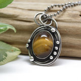 Artisan made Tigers Eye and Sterling Silver Pendant Necklace