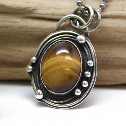 Tigers Eye and Sterling Silver Pendant Necklace