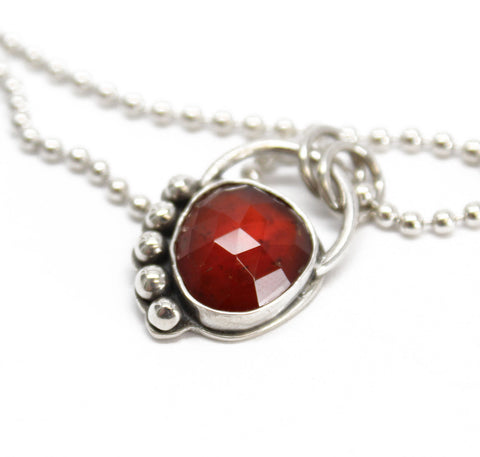 Hessonite Garnet Pendant Necklace in Sterling Silver