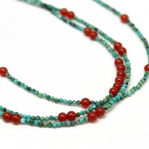 Turquoise and Carnelian Three Strand Necklace