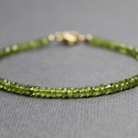 Idocrase Vesuvianite Bracelet with Gold Clasp