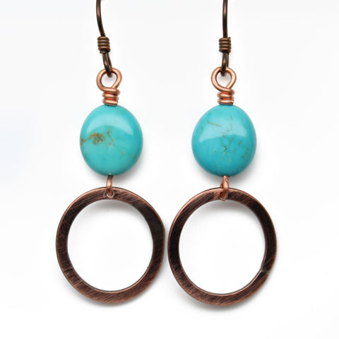 Kingman Turquoise Drop Earrings with Copper Dangles