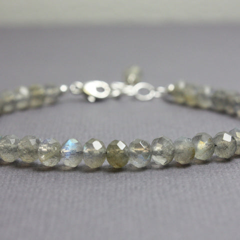 "Labradorite Bracelet-Sterling Silver Adjustable 7"" to 8"""