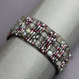 "Labradorite and Seed Bead Bracelet-Silver Plated Clasp-6.63"" Long"