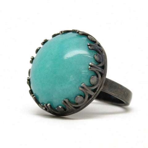 Amazonite Ring, Large 20mm Bezel Set in Sterling Silver