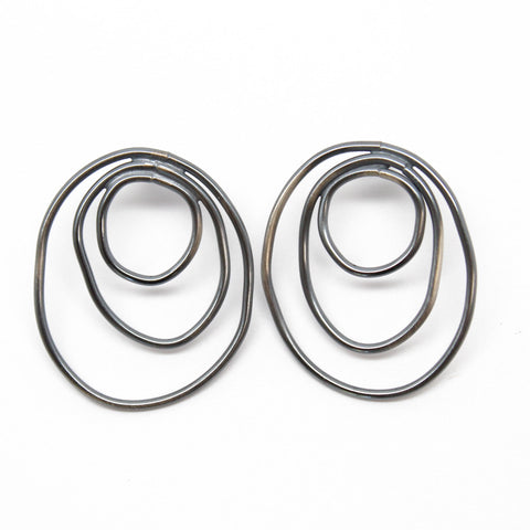 Large Sterling Silver Circle Stud Earrings Earrings