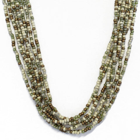 Multi Strand Linen and Bronze Seed Bead Necklace, Adjustable 30 to 32 Inches Long