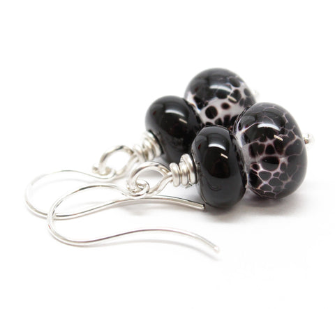 Little Black Bead Earrings in Sterling Silver