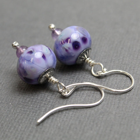 Purple Lampwork Bead Dangle Earrings in Sterling Silver