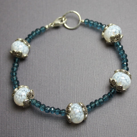 London Blue Quartz and Lampwork Bead Bracelet
