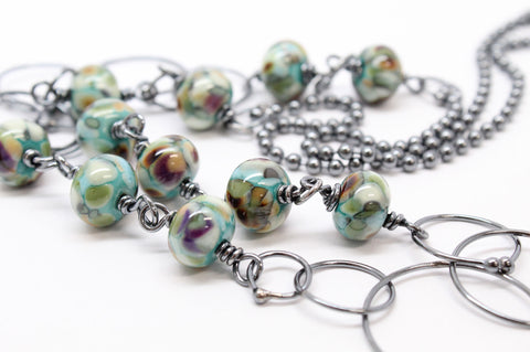 Handmade Sterling Silver Chain Necklace with Lampwork Beads, 27.5 Inches Long