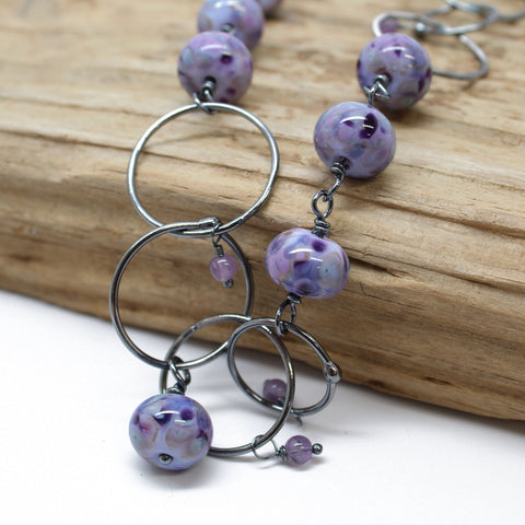 Purple Lampwork Bead and Sterling Silver Chain Necklace